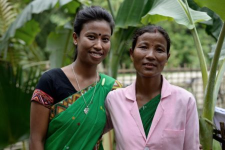 Indian mother and daughter from Majuli Island