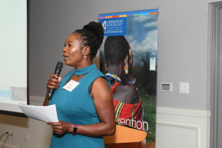 Anne Wahome, from Kenya, speaks at OE AGM and Donor Celebration