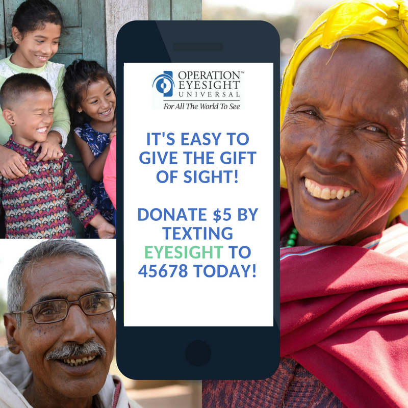 Text to donate operation eyesight